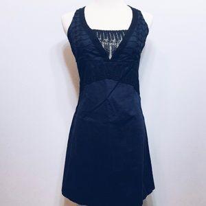 Free People Navy Blue Dress w Black Lace Detail
